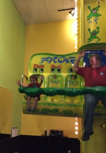 We went to an indoor play place with some rides - O and Darrell had a blast!